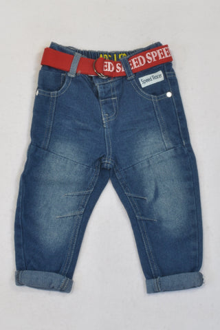 New Edgars Denim Speed Racer Belted Jeans Boys 12-18 months