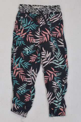 Cotton On Navy Palm Leaf Pants Girls 3-4 years