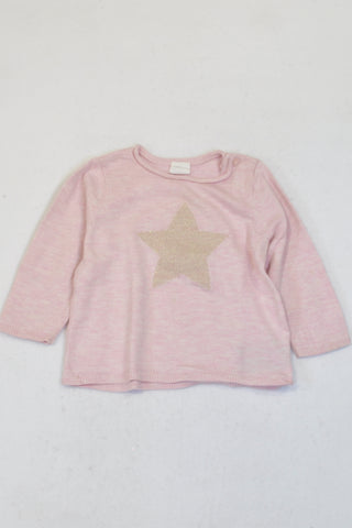 H&M Pink Sparkle Star Jersey Girls 6-9 months