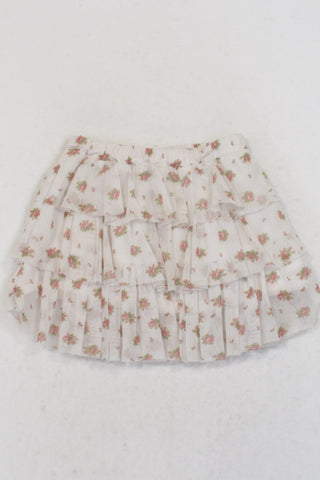 Zara White Tulle Netting Floral Skirt Girls 2-3 years
