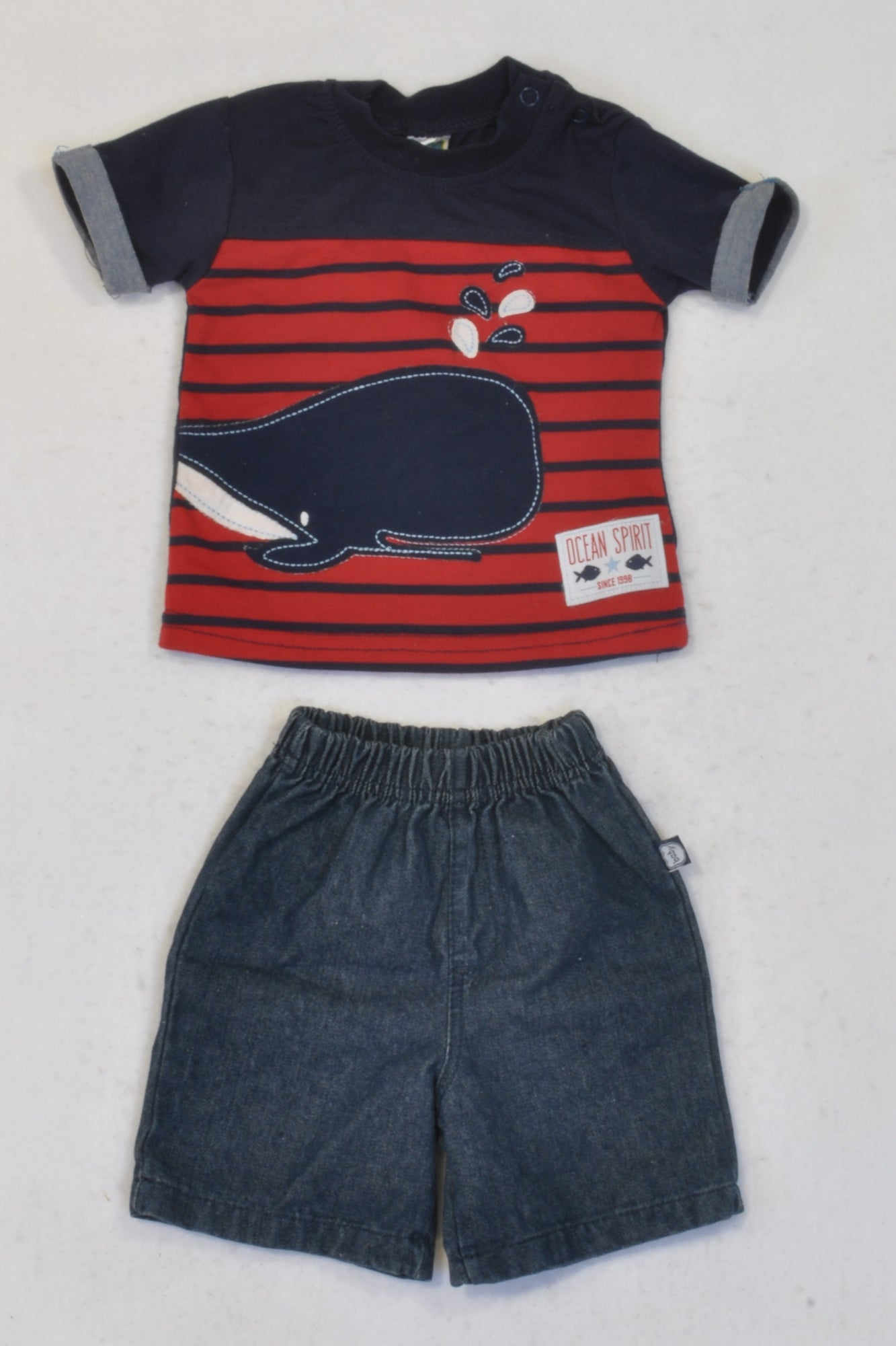 Ackermans Blue & Red Whale Outfit Boys 0-3 months
