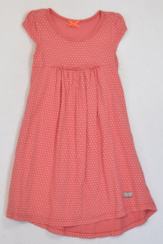 Naartjie Coral Pink Dotty Dress Girls 5-6 years