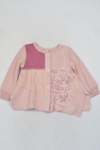 Naartjie Baby Pink Mixed Fabric Jersey Girls 12-18 months