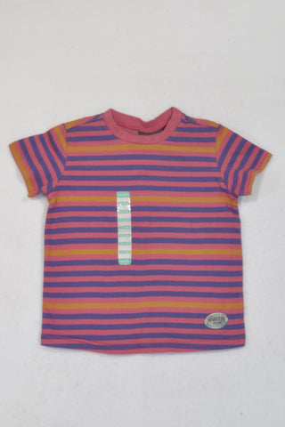 New Naartjie Pink & Purple Stripe T-shirt Unisex 12-18 months
