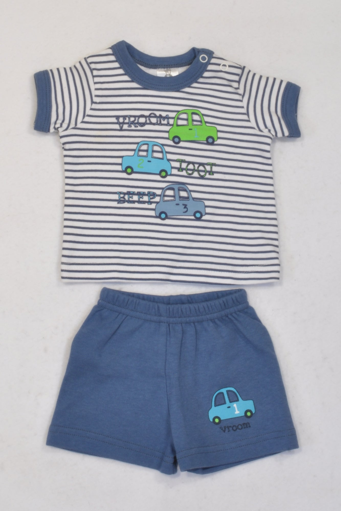 New Little Legend White & Blue Vroom Beep Outfit Boys 0-3 months