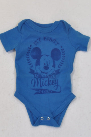 Disney Blue Mickey Mouse Baby Grow Boys 0-3 months
