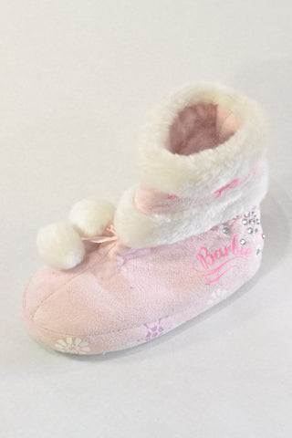 Pink Barbie Slipper Boots Girls 2-3 years