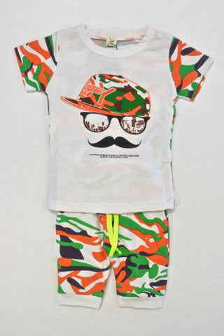 New Orange and Green Camo Outfit Boys 2-3 years