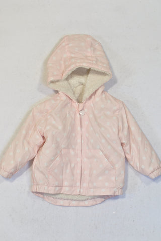 New Woolworths Pink Dotty Faux Fur Lined Rain Jacket Girls 3-6 months