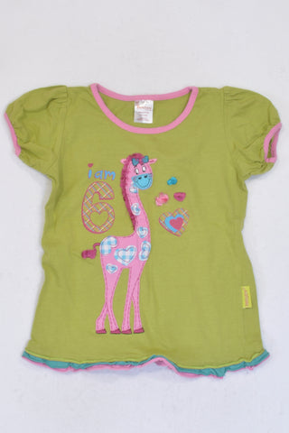 Hooligans Green I am 6 Giraffe T-shirt Girls 6-7 years