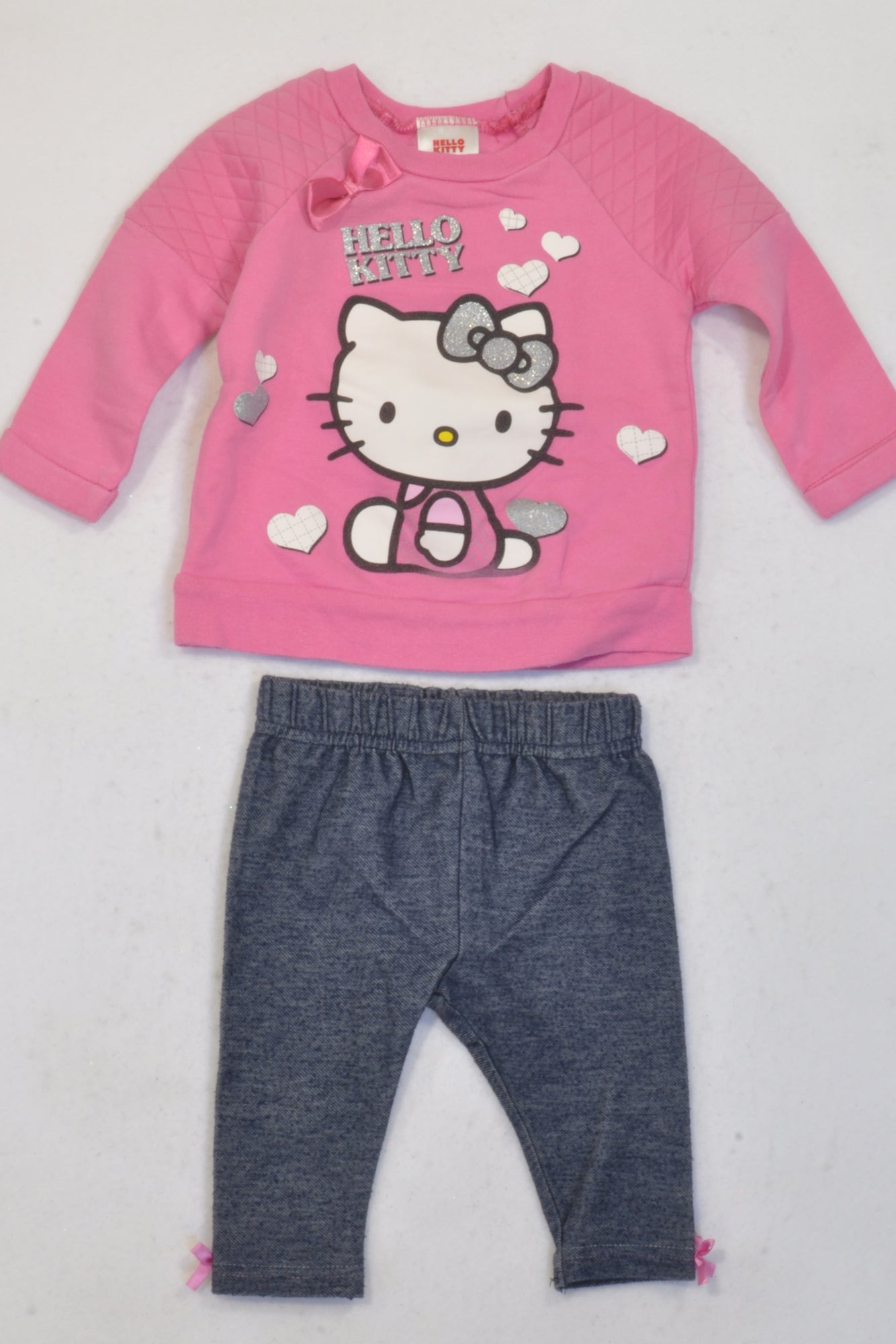bb0801af0e0b Edgars Pink Hello Kitty Hearts Top & Jeggings Outfit Girls 3-6 months –  Once More
