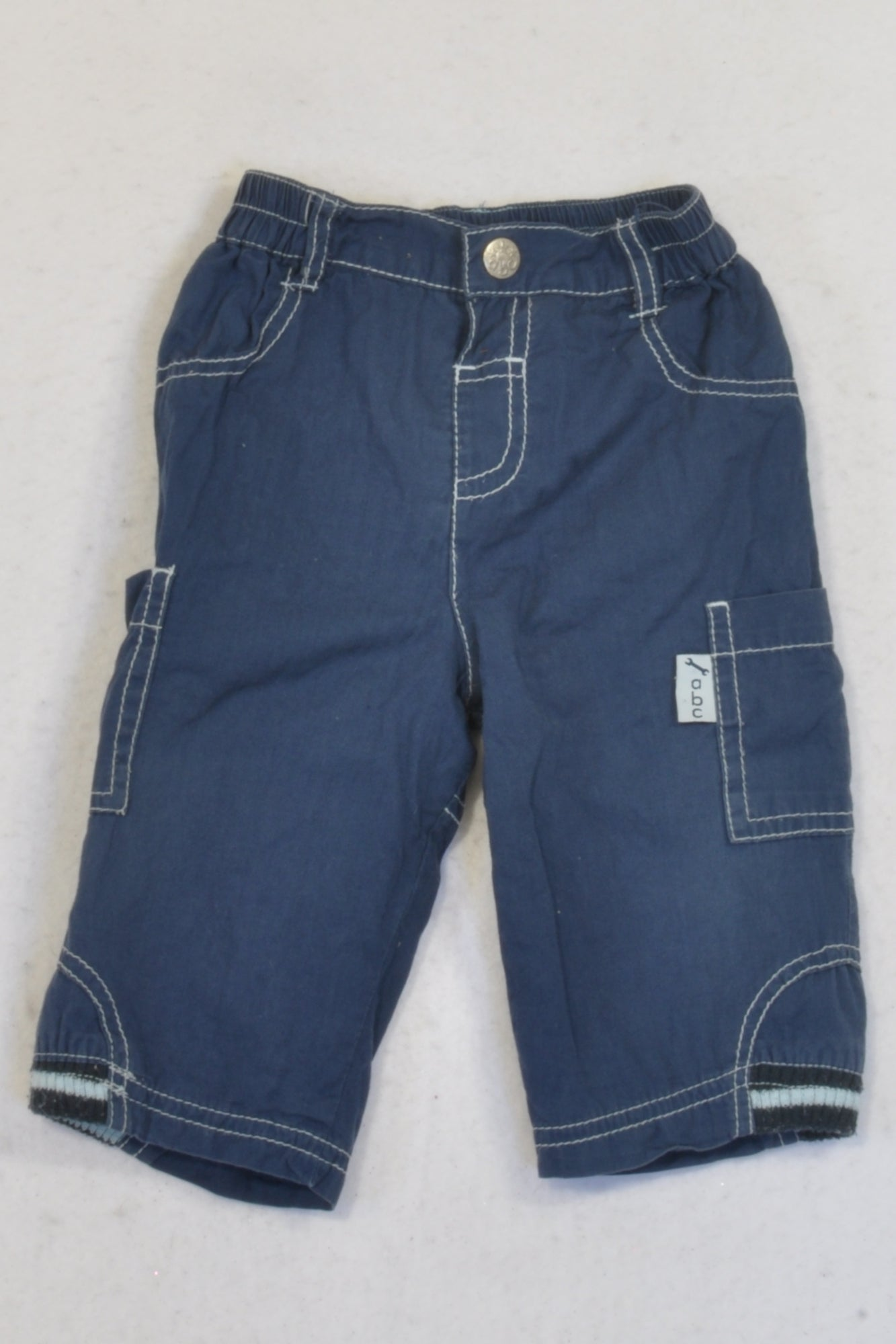 Ackermans Navy Cargo Ribbed Trim Pants Boys 3-6 months