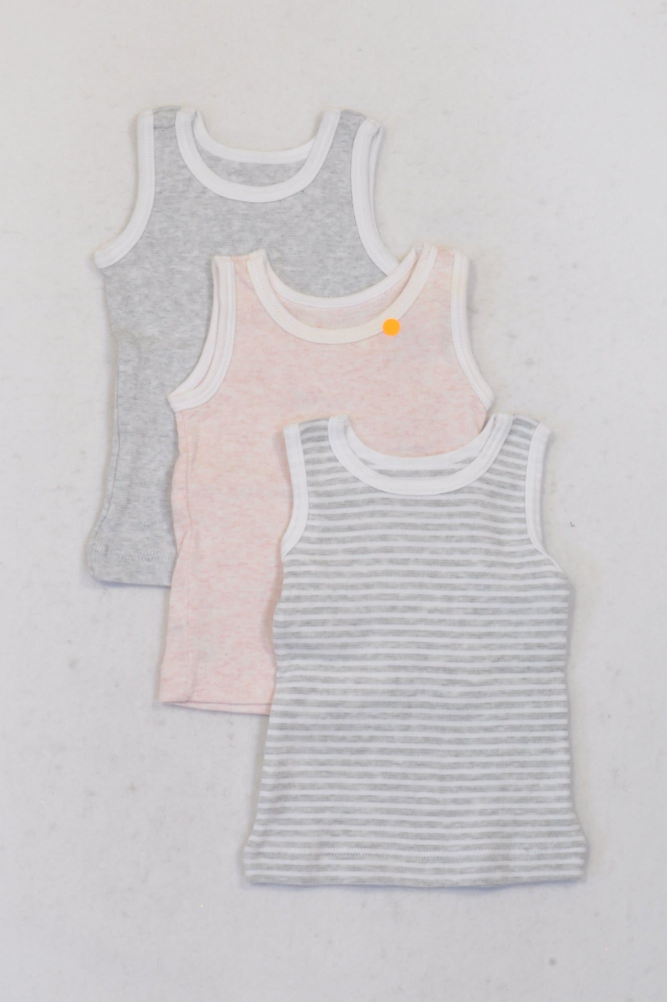 Woolworths 3Pack of Grey & Pink Vest Tops Girls 3-6 months