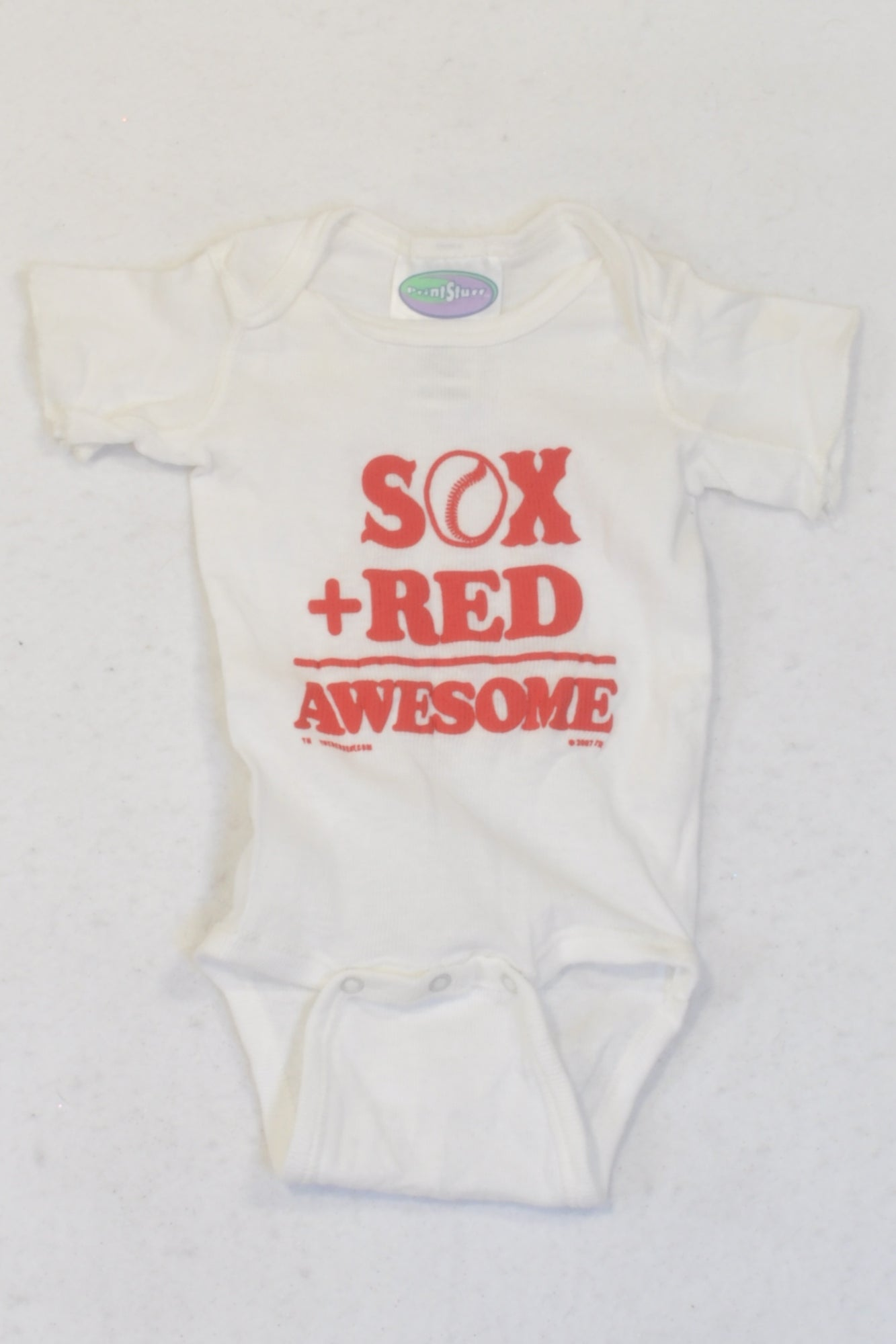 Printstuff White Sox + Red Baby Grow Boys 3-6 months