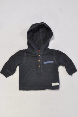 Carters Navy Half Button Hoodie Boys 0-3 months