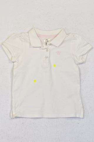 H&M Pink Embroidered Butterfly White Golf Shirt Girls 12-18 months