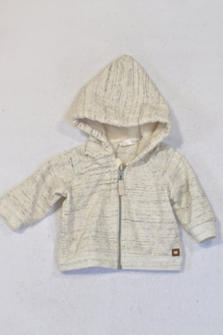 H&M Heathered Cream Zip Hoodie Unisex 0-3 months