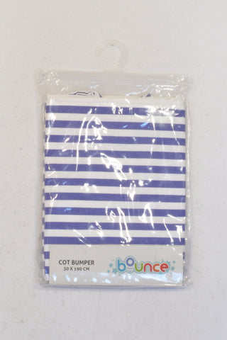 New Bounce Set of (1 of 2) Single White & Blue Striped Cot Bumper Cover Unisex Newborn-1 year