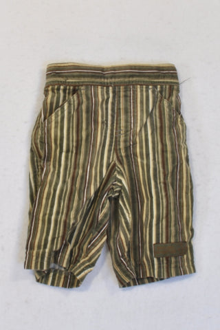 Target Olive & Brown Striped Corduroy Pants Boys 0-3 months
