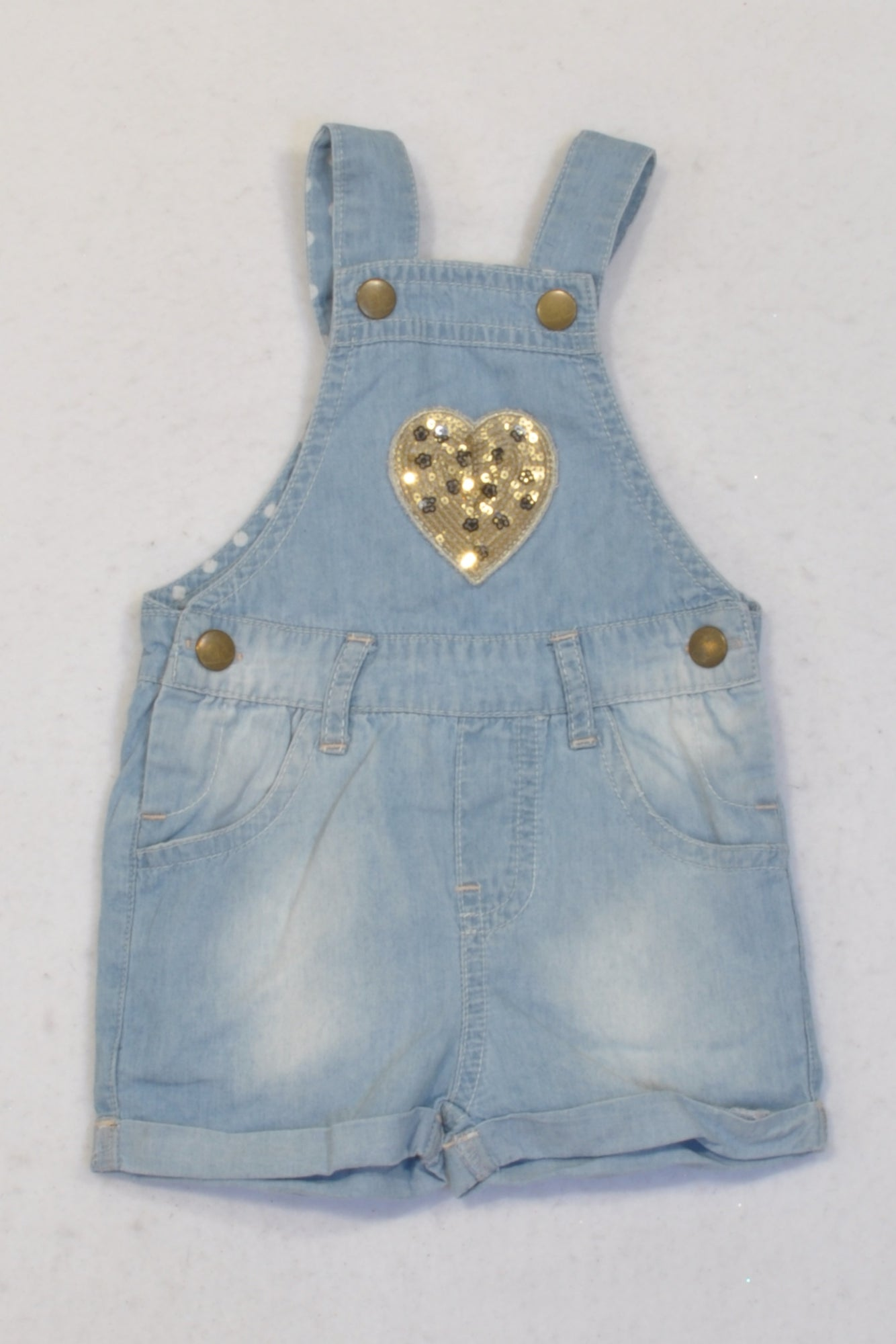 Woolworths Lightweight Denim Sequin Heart Shorts Dungarees Girls 0-3 months