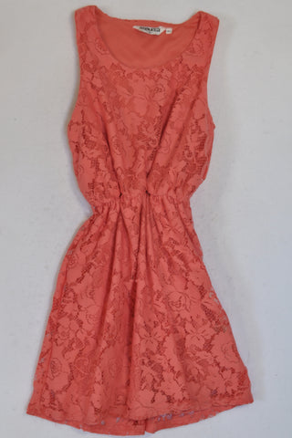 New Look Peach Lace Overlay Dress Girls 10-11 years