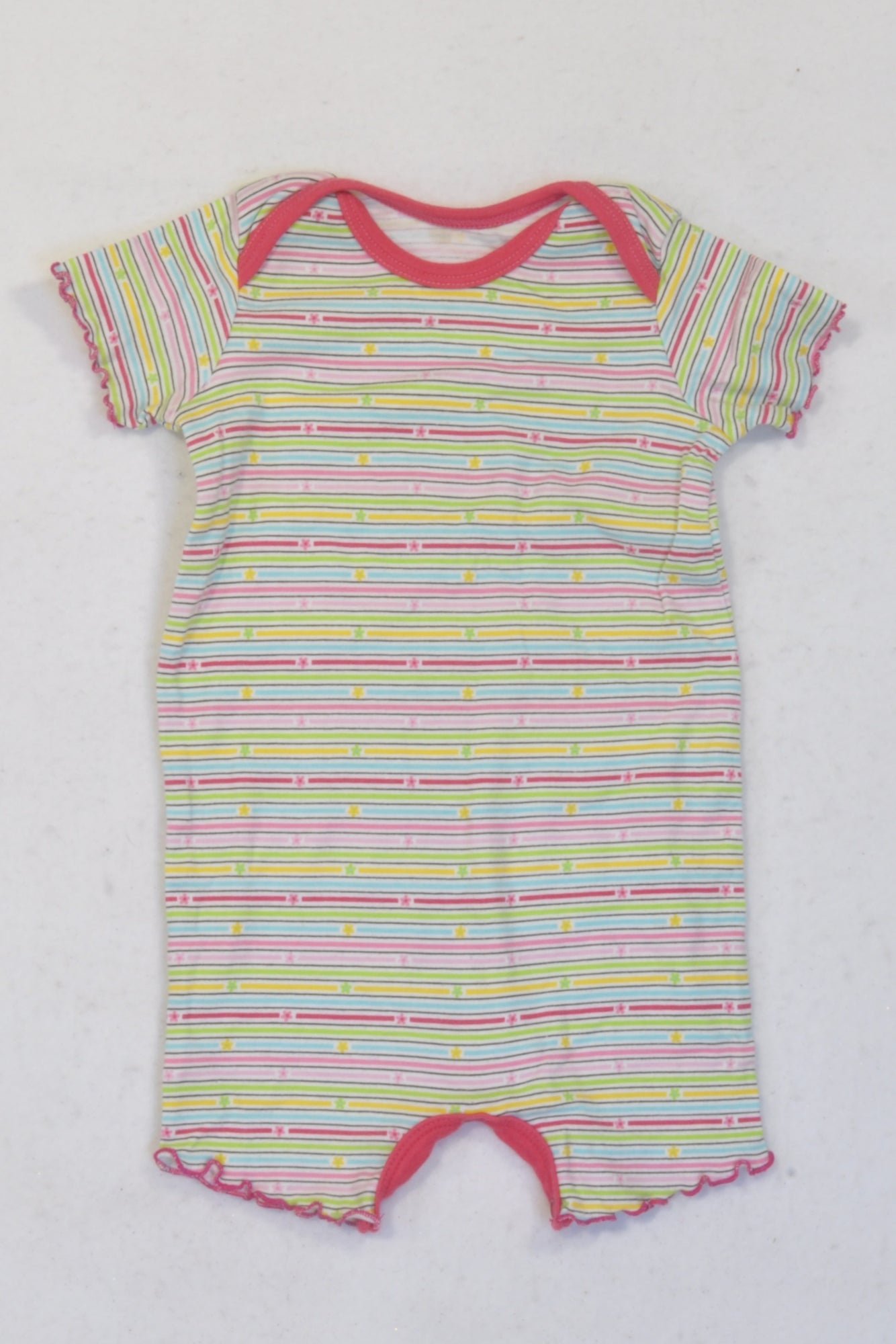 Woolworths Multi-coloured Thin Stripe Romper Girls 3-6 months