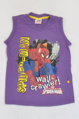 Purple Spiderman Tank Top Boys 4-5 years