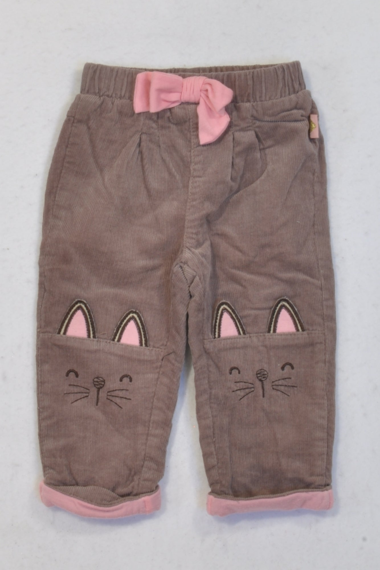 Ackermans Lined Brown Corduroy Cat Pants Girls 6-12 months