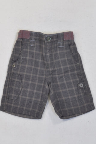 Monsoon Grey & Blue Plaid Shorts Boys 6-12 months