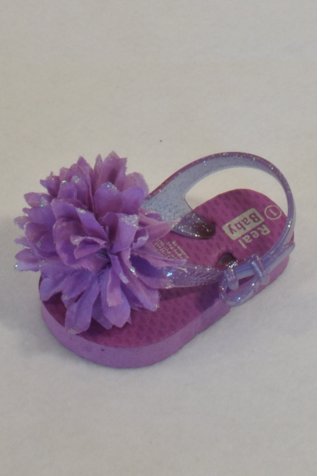Pick n Pay Purple Glitter Flower Size 1 Flip Flops Girls 3-6 months
