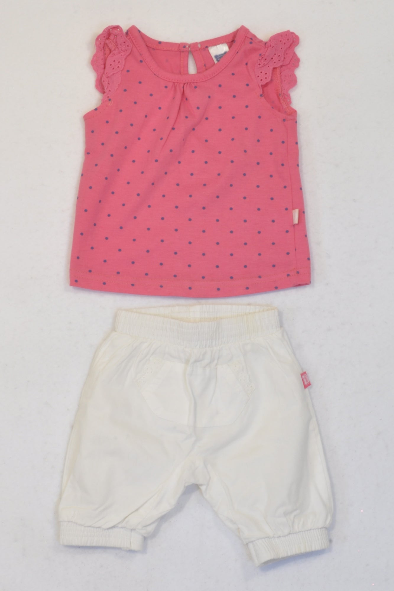 Ackermans Pink Eyelet Tank Top & White Slouch Pants Outfit Girls 0-3 months