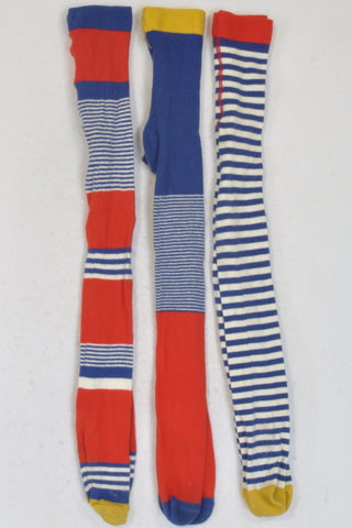 M&S 3 Pack Red Blue White & Yellow Striped Stockings Girls 3-4 years