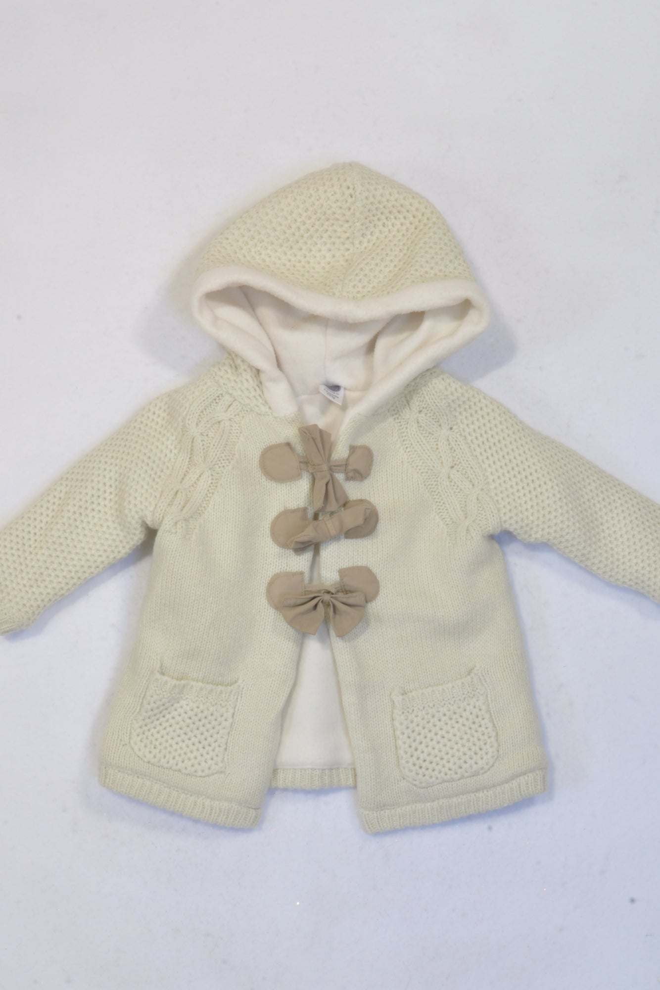 Ackermans Cream Knit Hooded Bow Jersey Girls 3-6 months