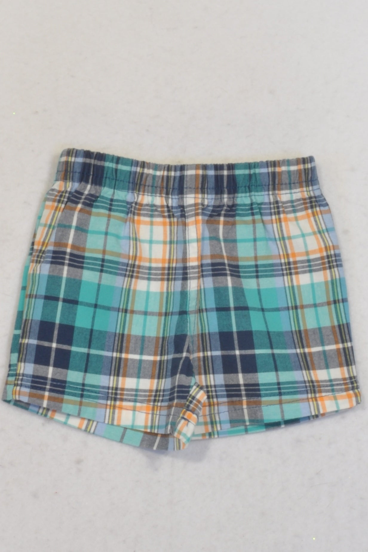 Carter's Blue Plaid Shorts Boys 0-3 months
