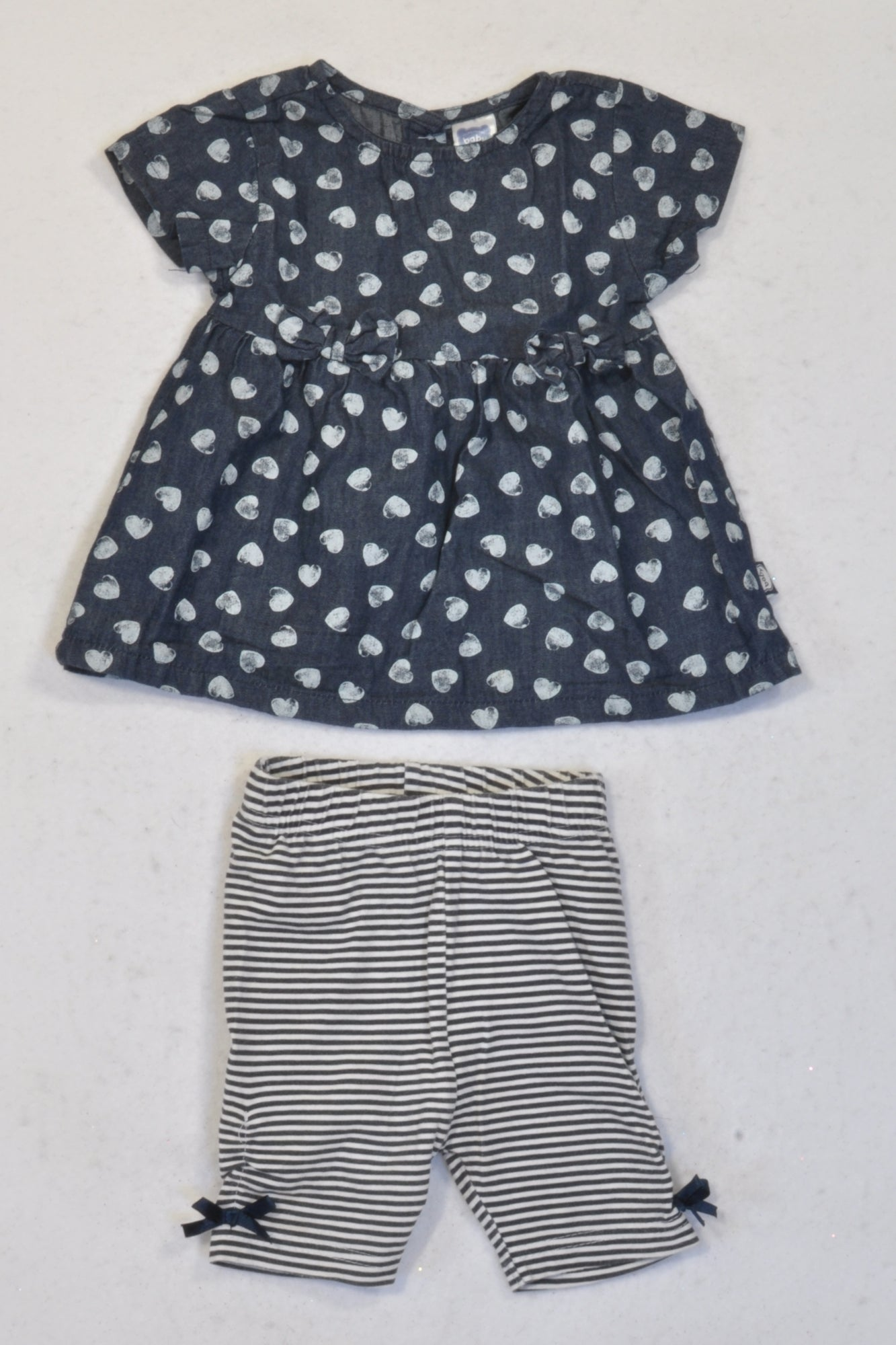 Ackermans Denim Heart Dress & Stripe Leggings Outfit Girls 0-3 months