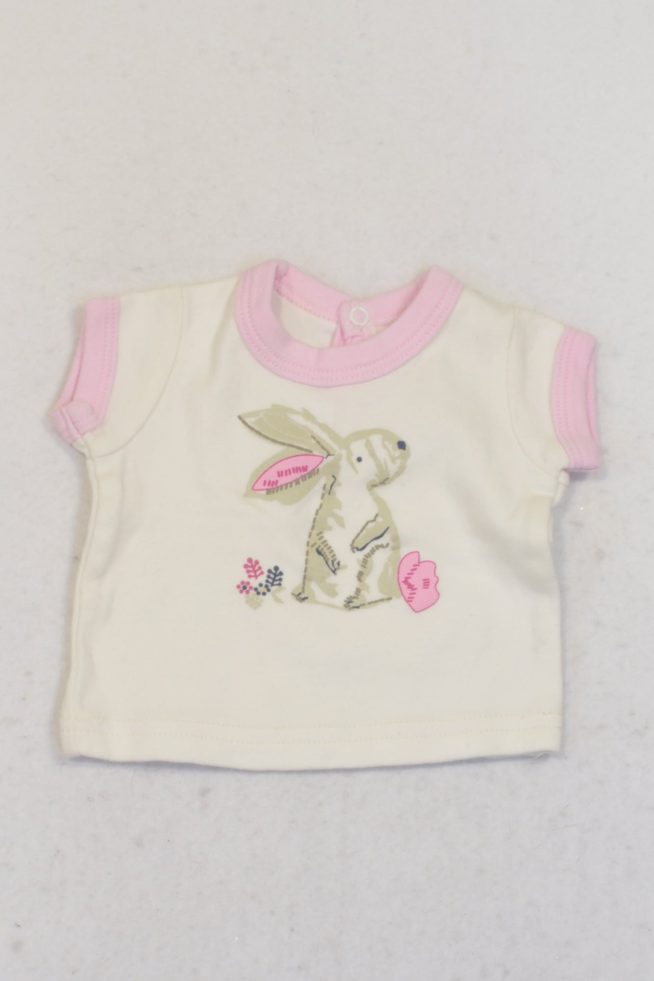 Little Legend Pink & Off White Bunny T-shirt Girls 0-3 months