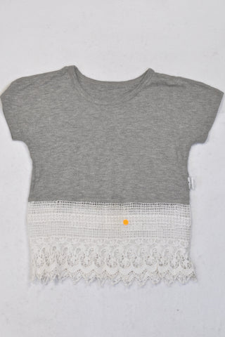 Precioux Grey & Lace Panel Top Girls 2-3 years