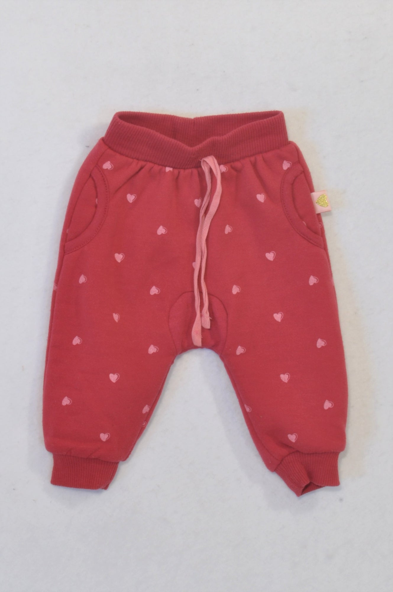 Ackermans Red & Pink Heart Track Pants Girls 3-6 months