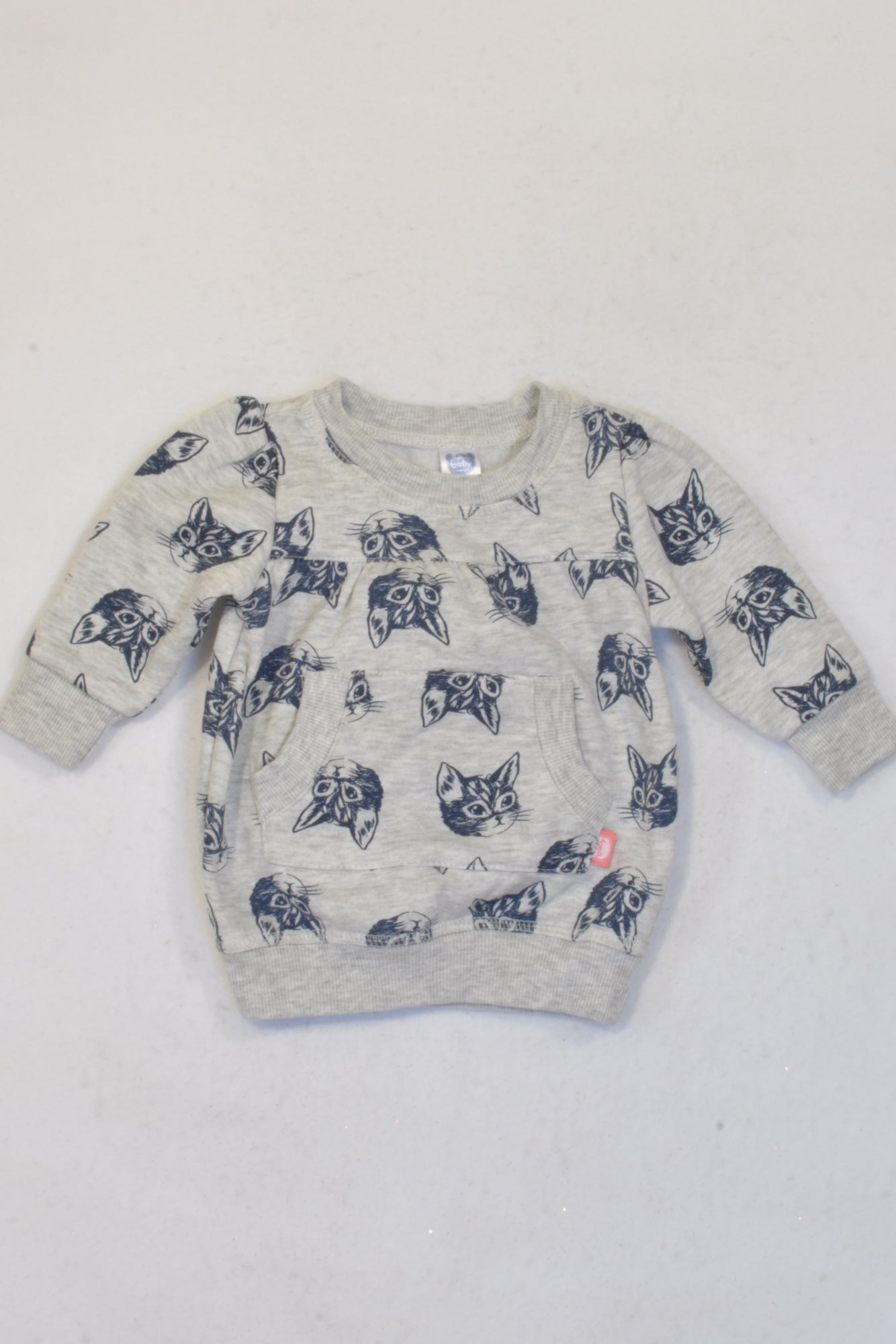 Ackermans Grey & Blue Kitten Jersey Girls 0-3 months