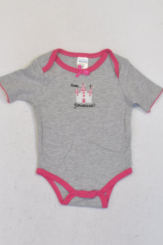 Mother's Choice Grey with Pink Trim Castle Baby Grow Girls 6-9 months