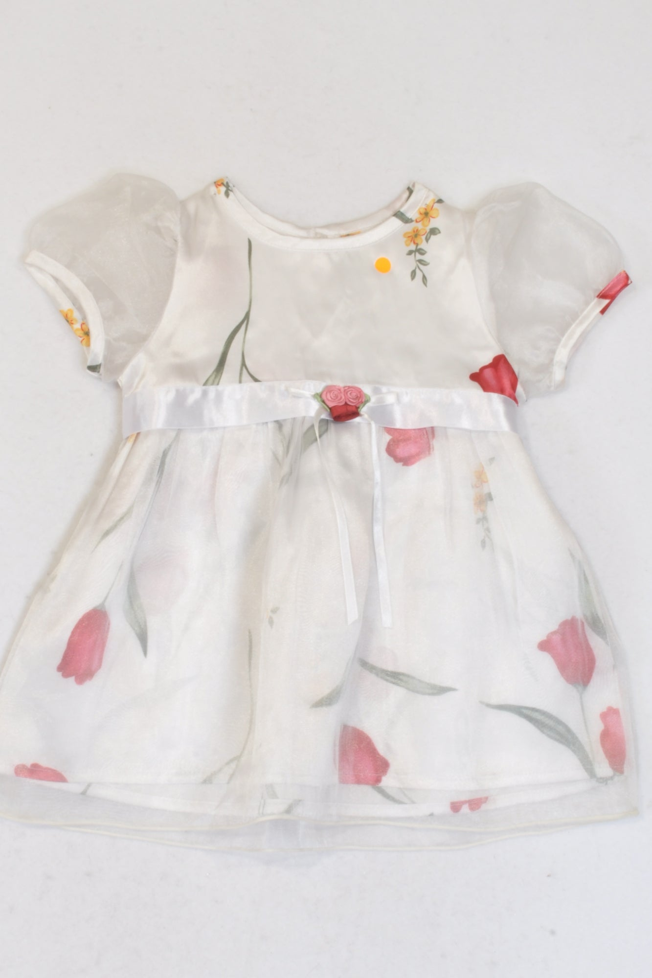 Jet White Floral Organza Trim Dress Girls 3-6 months