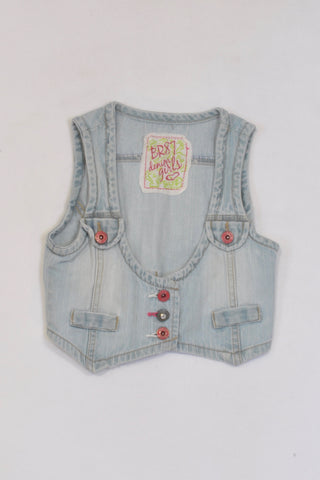 Woolworths Sleeveless Multi Button Cropped Denim Jacket Girls 8-9 years