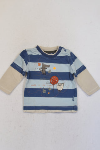 Pumpkin Patch Blue Striped Walk In The Forest T-shirt Boys 0-3 months
