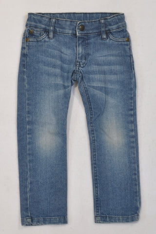 Stone-Wash Denim Straight Leg Jeans Girls 2-3 years