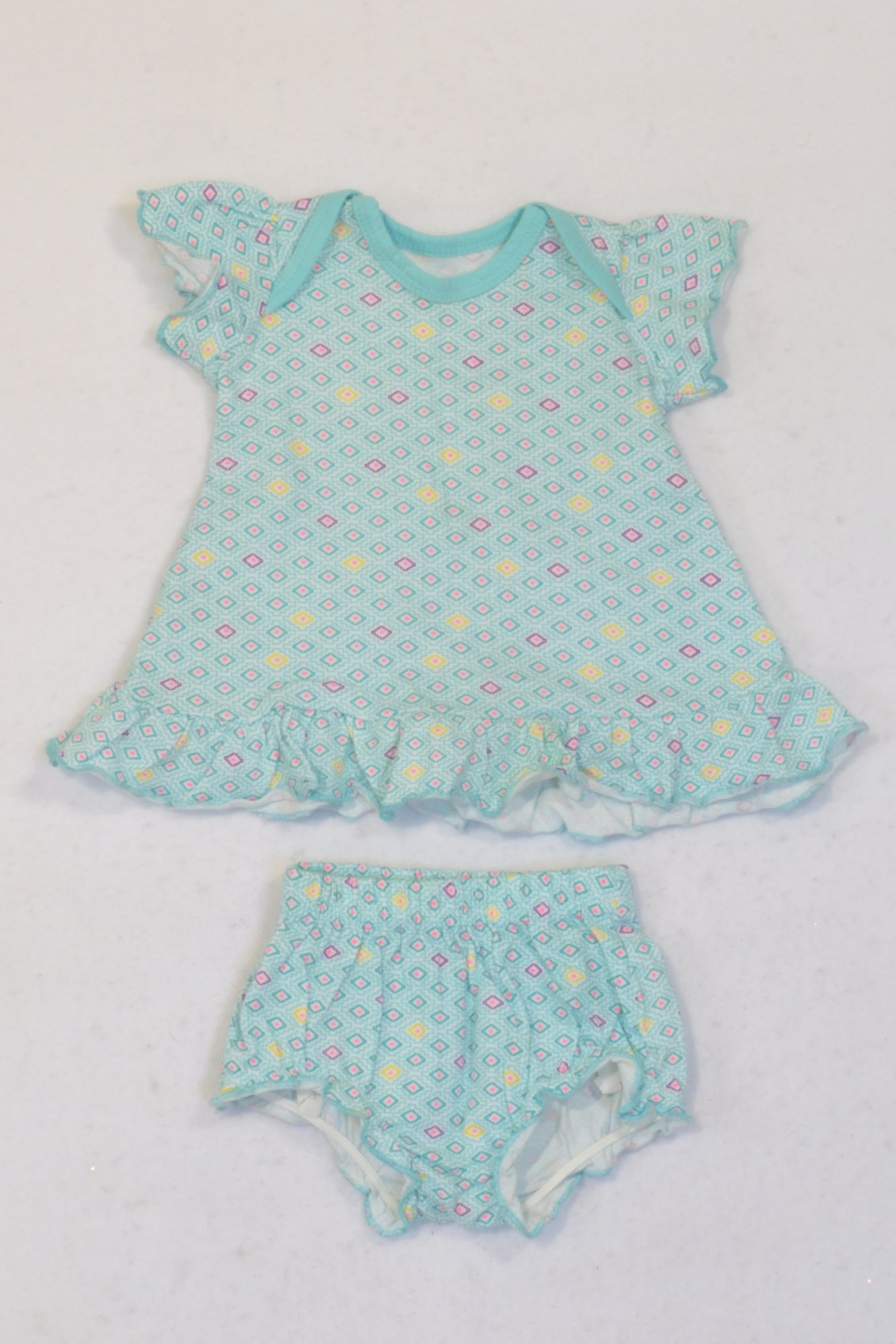 New Woolworths Mint Printed Dress & Bloomers Outfit Girls N-B