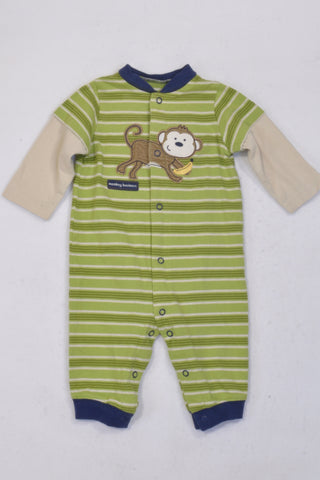 Carter's Green & Cream Stripe Monkey Onesie Boys 3-6 months