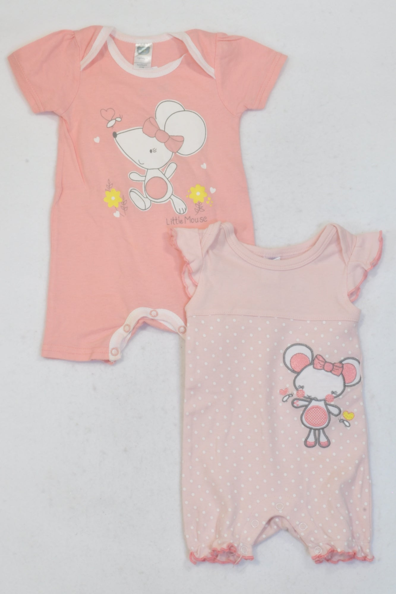 Ackermans 2 Pack Pink Mouse Rompers Girls N-B