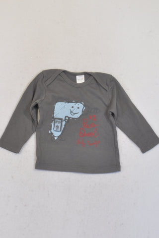 Naartjie Grey Power Drool T-shirt Boys 0-3 months