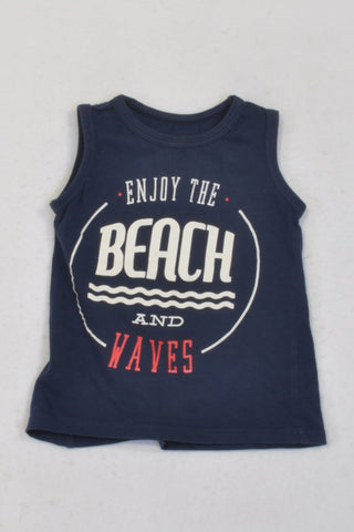Woolworths Navy Enjoy the Beach Tank Top Boys 18-24 months