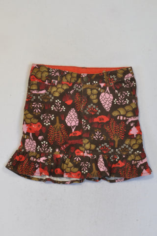 New Land's End Brown Floral Corduroy Skirt Girls 6-7 years